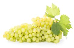 Green grapes  on the white Stock Photos