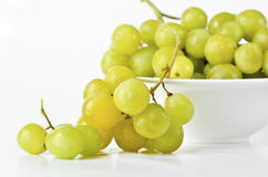 Green grapes on white background Stock Images