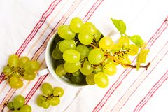 Green grapes in a white bowl top view. Green fresh grapes in a white bowl top view stock photography