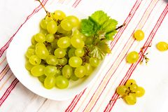 Green grapes in a white bowl top view. Green fresh grapes in a white bowl top view stock image