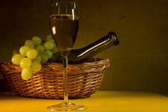 Green grapes and white wine royalty free stock photos