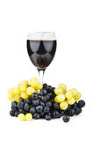 Green grapes and wine glass Royalty Free Stock Images