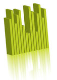 Green graph. Is reflecting over the survace Royalty Free Stock Image