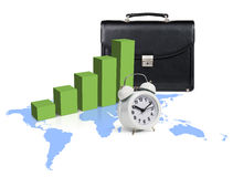 Green graph growth up on the blue map Royalty Free Stock Images