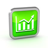Green graph icon. On a white background Royalty Free Stock Photo