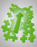 Green graph plus sign increasing up Royalty Free Stock Images