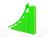 Green graph with rising arrow Stock Photo