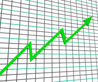 Green Graph Shows Profit Line Stock Photo
