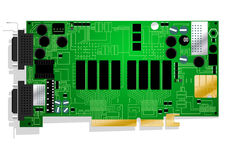 Green graphics card circuit board illustration. On white background Royalty Free Stock Photos