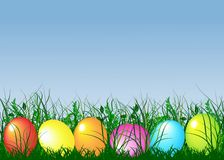 Green gras and easter eggs Royalty Free Stock Photos
