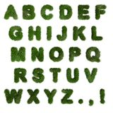 Green Grass Alphabet. English Letters. Font. 3d Render Royalty Free Stock Image