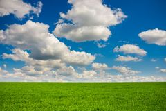 Free Green Grass And Blue Sky With White Clouds Royalty Free Stock Photos - 108923928