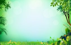 Green grass on background grass palm. Field of fresh green grass palm, flower, Spring or Summer Season Abstract Nature Banner Background. Vector Illustrations & Stock Photography