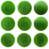 Green grass balls set Royalty Free Stock Photography
