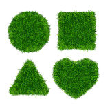 Green Grass Banners Set. Triangle, Box, Circle and Heart. Vector Stock Images