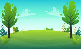 Green grass barbeque grill at park or forest trees and bushes flowers scenery background , nature lawn ecology peace vector illust. Ration of forest nature happy stock illustration