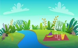 Green grass barbeque grill at park or forest trees and bushes flowers scenery background , nature lawn ecology peace vector illust. Green river grass barbeque vector illustration