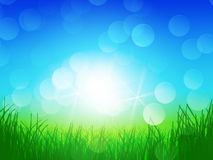 Green grass blue sky. Background with green grass and blue sky and lights on horizon, ecology concept Stock Photos
