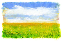 Green grass and blue sky with clouds. Acrylic painting. Isolated on a white background Royalty Free Stock Photo