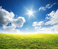 Green grass blue sky Royalty Free Stock Photos