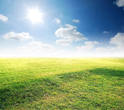 Green grass blue sky Royalty Free Stock Photography