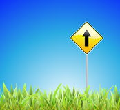 Green grass, blue sky and a road sign Royalty Free Stock Photo
