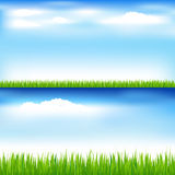 Green Grass And Blue Sky. Vector  Stock Images