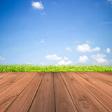 Green grass with blue sky and wood floor background. Field of green grass and sky Royalty Free Stock Image