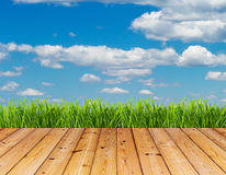 Green grass and blue sky on wood floor background. stock images