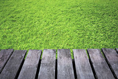 Green grass blurred background and old brown wooden floor Stock Photo