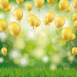 Green Grass Bokeh Golden Balloons. Flying golden balloons on the green background with bokeh Stock Images