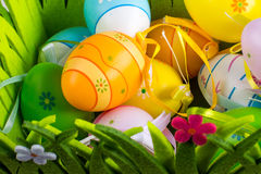 Green grass box with Easter eggs Royalty Free Stock Image
