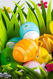 Green grass box with Easter eggs Royalty Free Stock Photography