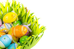 Green grass box with Easter eggs on white background Royalty Free Stock Photos