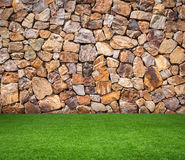 Green grass with brown stone background Royalty Free Stock Photos