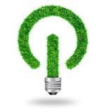Green grass bulb as symbol start button Stock Photography