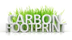 Green grass with Carbon footprint Stock Photos