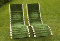 Green grass chairs Stock Photography