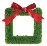 Green grass christmas wreath stock image