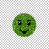 Green grass circle field 3D. Face smile. Smiley grassy icon, isolated white transparent background. Ecology concept. Smiling sign. Symbol eco, nature, safe Royalty Free Stock Images