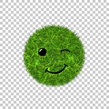 Green grass circle field 3D. Face wink smile. Smiley grassy emoticon icon, isolated white transparent background. Smiling sign. Symbol ecology, eco lawn, safe royalty free illustration