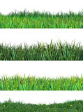 Green grass set clip art grassland. Green fresh grass on white background. Four different grass stripes. Clip art, Hand drawn meadow, Summer grassland, field Stock Photography