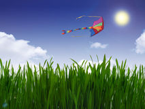 Green grass and color kite. In the blue sky royalty free stock photo