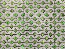 Green grass between concrete stone bricks. pathway in garden. Green grass between concrete stone bricks. footpath in garden royalty free stock photo