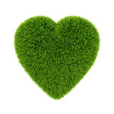 Green grass 3d heart, isolated. Ecology concept heart illustration, isolated on white background stock illustration