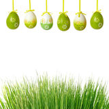 Green grass and easter eggs Stock Photos