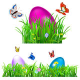 Green grass with Easter eggs Stock Photos