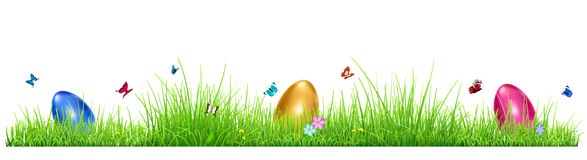 Green grass with Easter eggs Royalty Free Stock Image