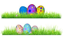 Green grass with Easter eggs Royalty Free Stock Photography