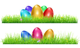 Green grass with Easter eggs Stock Photography